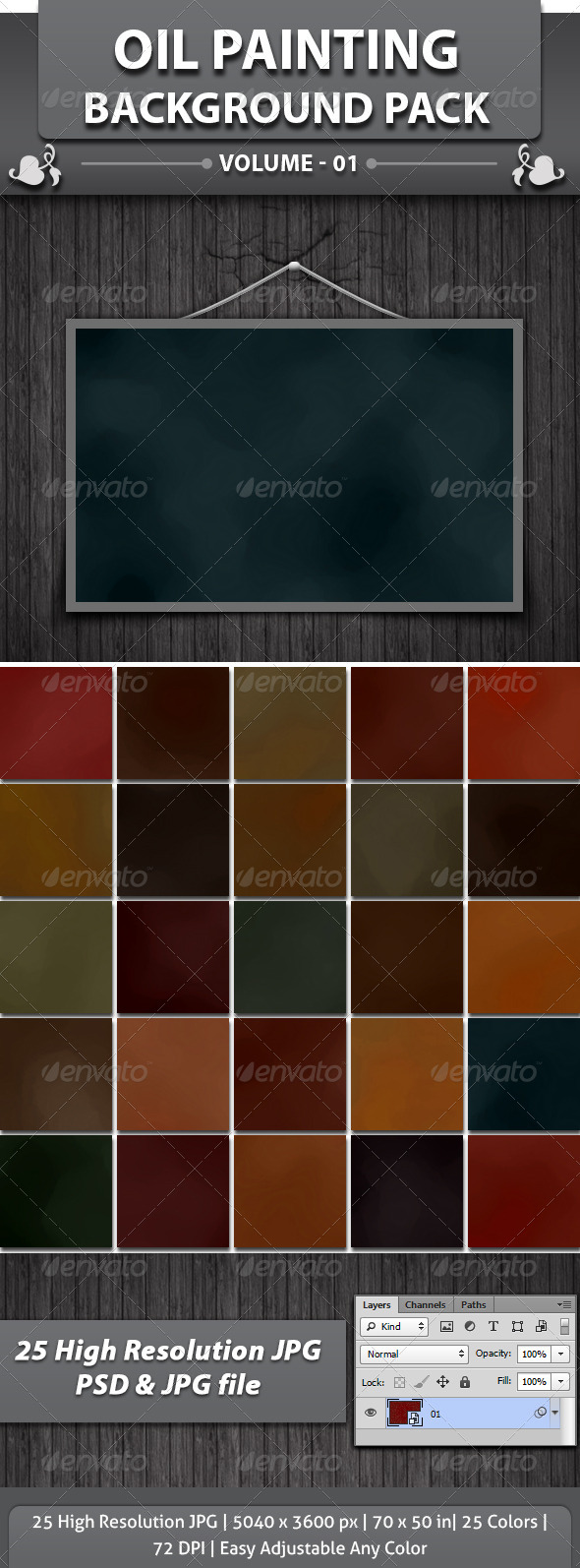 25 Oil Painting Background Pack - Abstract Backgrounds