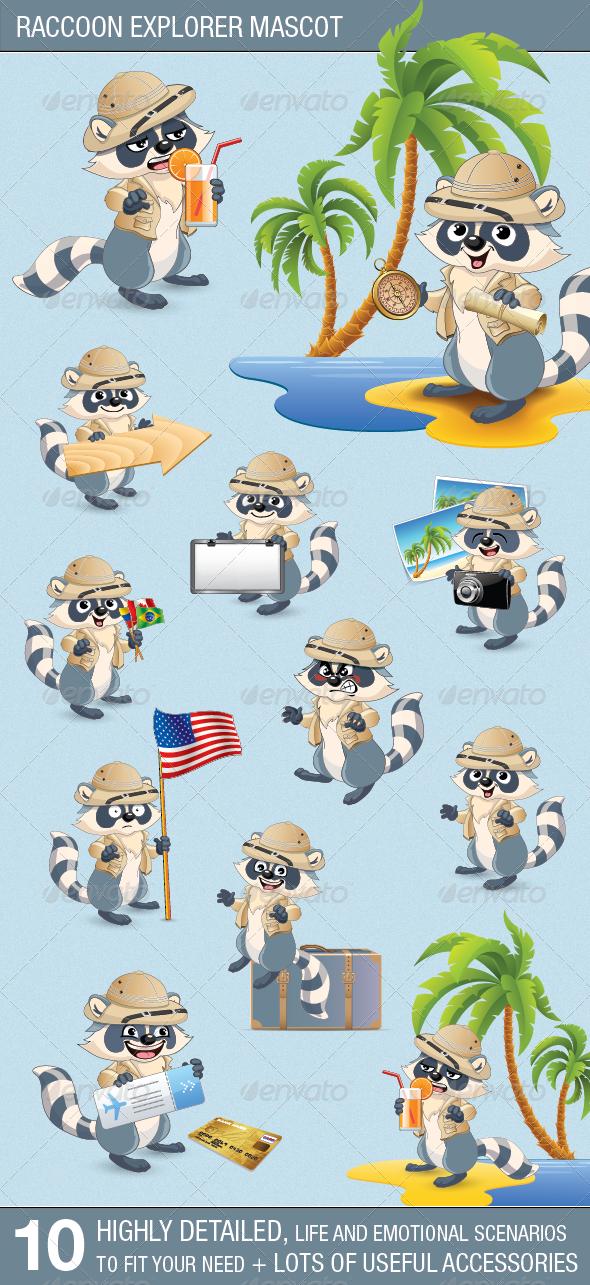 Raccoon Explorer Mascot - Animals Characters