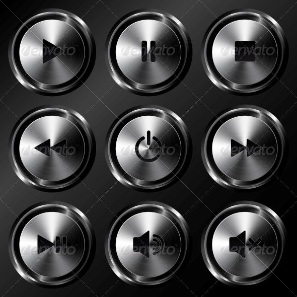 Metallic Sound Buttons Vector Set - Web Technology