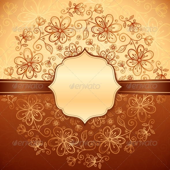 Lacy Vintage Flowers Background with Label - Patterns Decorative