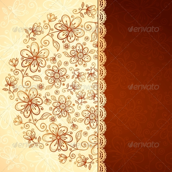 Lacy Vintage Flowers Vector Background - Flowers & Plants Nature