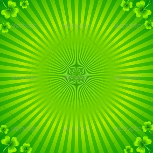 Green Radial Stripes Background with Clovers - Decorative Symbols Decorative