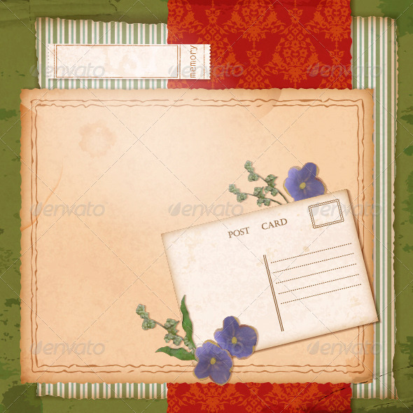 Scrapbook Old Paper Background with Dried Flower - Flowers & Plants Nature