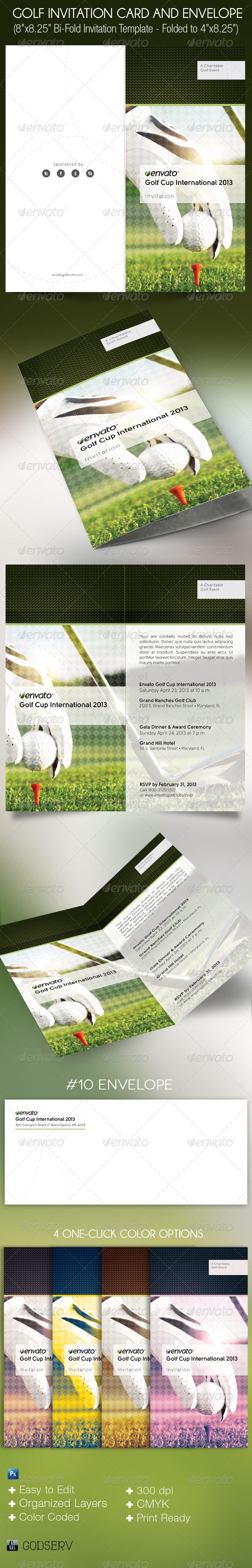 Golf Invitation Card Envelope Template - Invitations Cards & Invites
