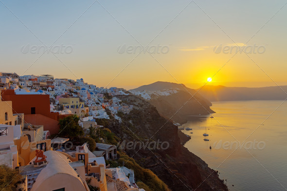 Santorini sunrise - Stock Photo - Images