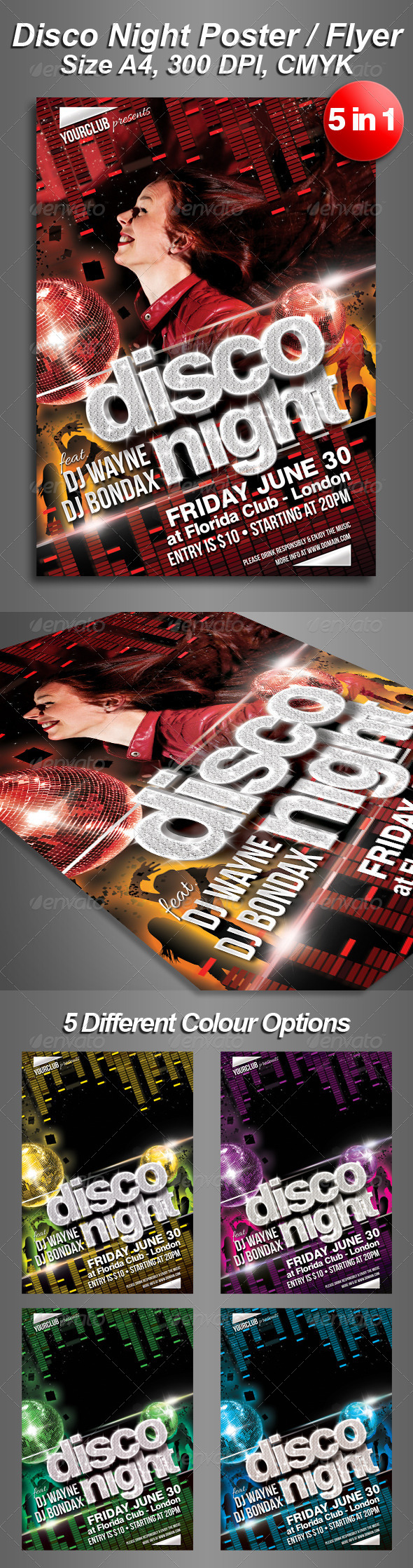 A4 5in1 Disco Night Club Flyer - Clubs & Parties Events