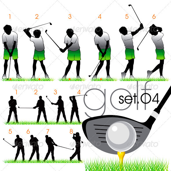 Golf Players Silhouettes - Sports/Activity Conceptual