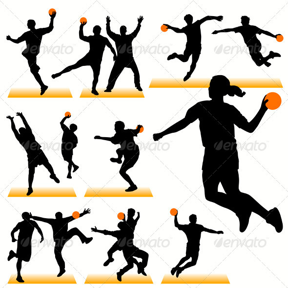 Handball Players Silhouettes Set - Sports/Activity Conceptual
