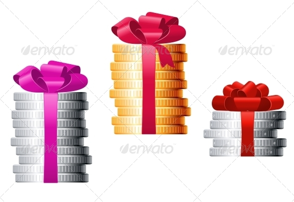 Stacks of Coins with Colorful Ribbons - Retail Commercial / Shopping