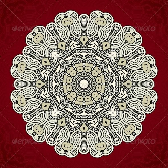 Vector Round Decorative Design Element - Patterns Decorative