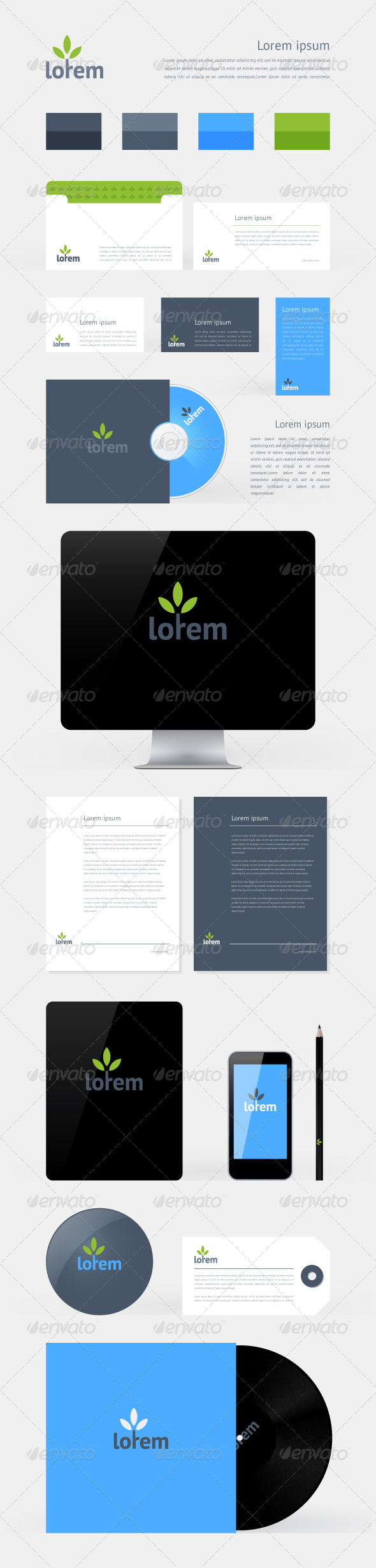 Stationery, Branding Mock-Up Template - Miscellaneous Vectors