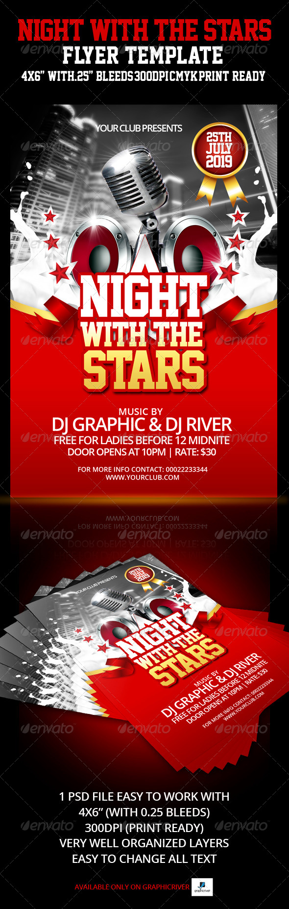 Night With The Stars Flyer Template - Flyers Print Templates