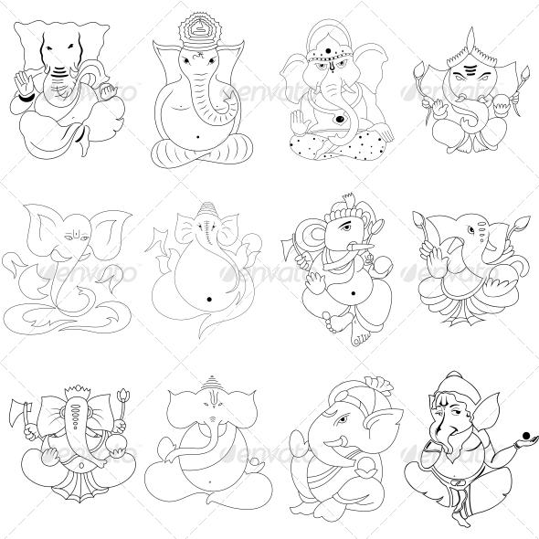Ganesha Religious Vector Designs Pack - Religion Conceptual