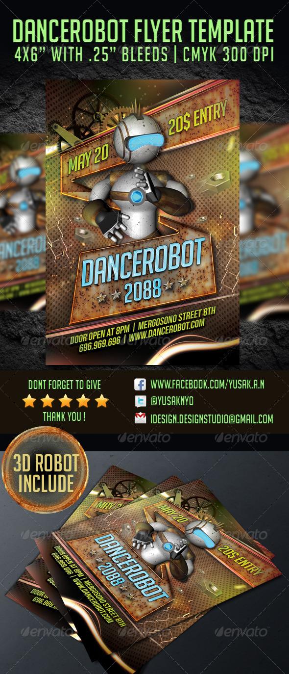 Dancerobot Party Flyer Template - Clubs & Parties Events