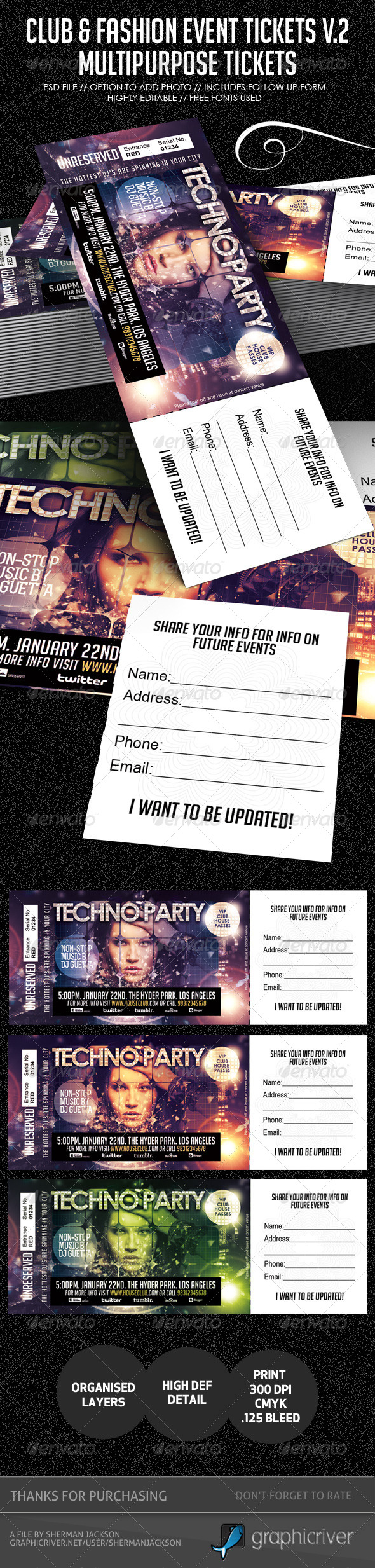 Club, Fashion & Event Multipurpose Tickets V.2 - Miscellaneous Print Templates