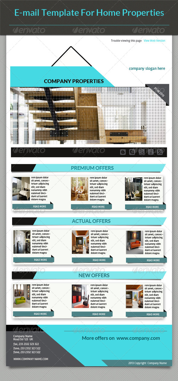 E-mail Template Home Properties - E-newsletters Web Elements