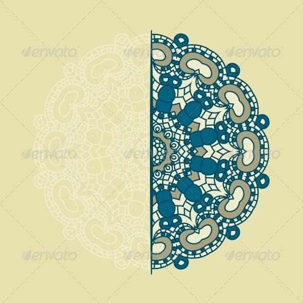 Vector Round Decorative Design Element - Flowers & Plants Nature