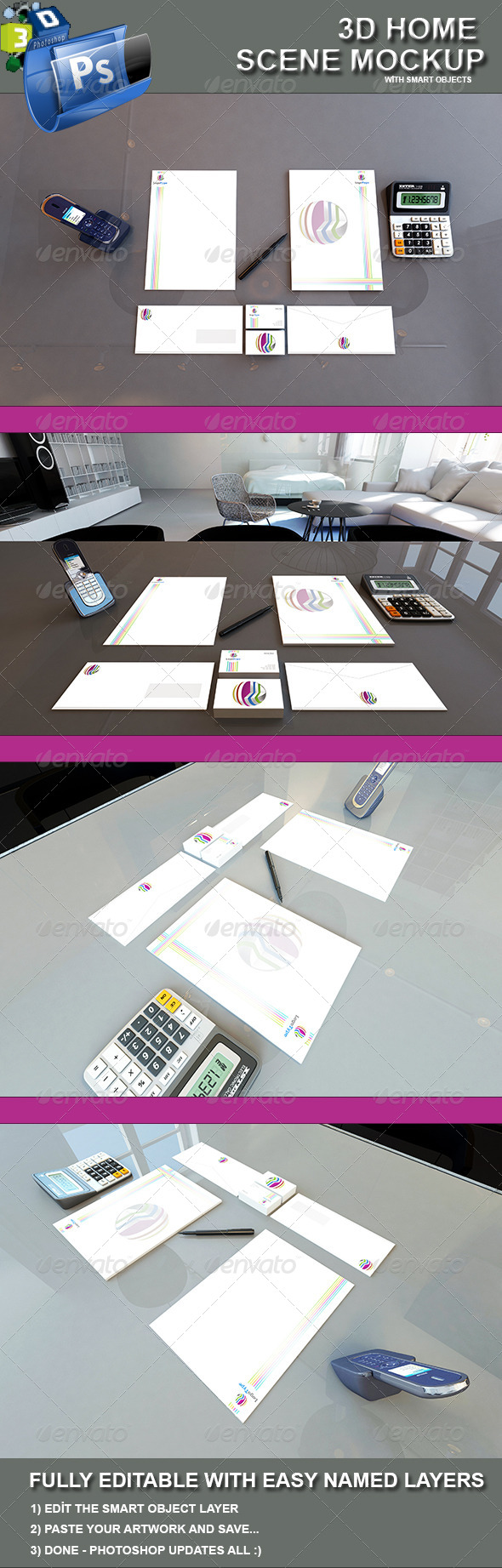 3d Identity Scene Mockup - Miscellaneous Graphics