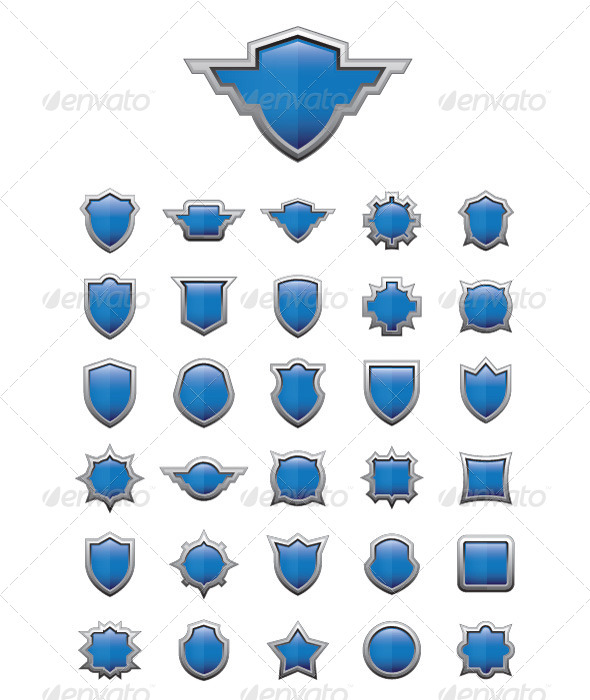 30 Shield Glossy - Objects Vectors