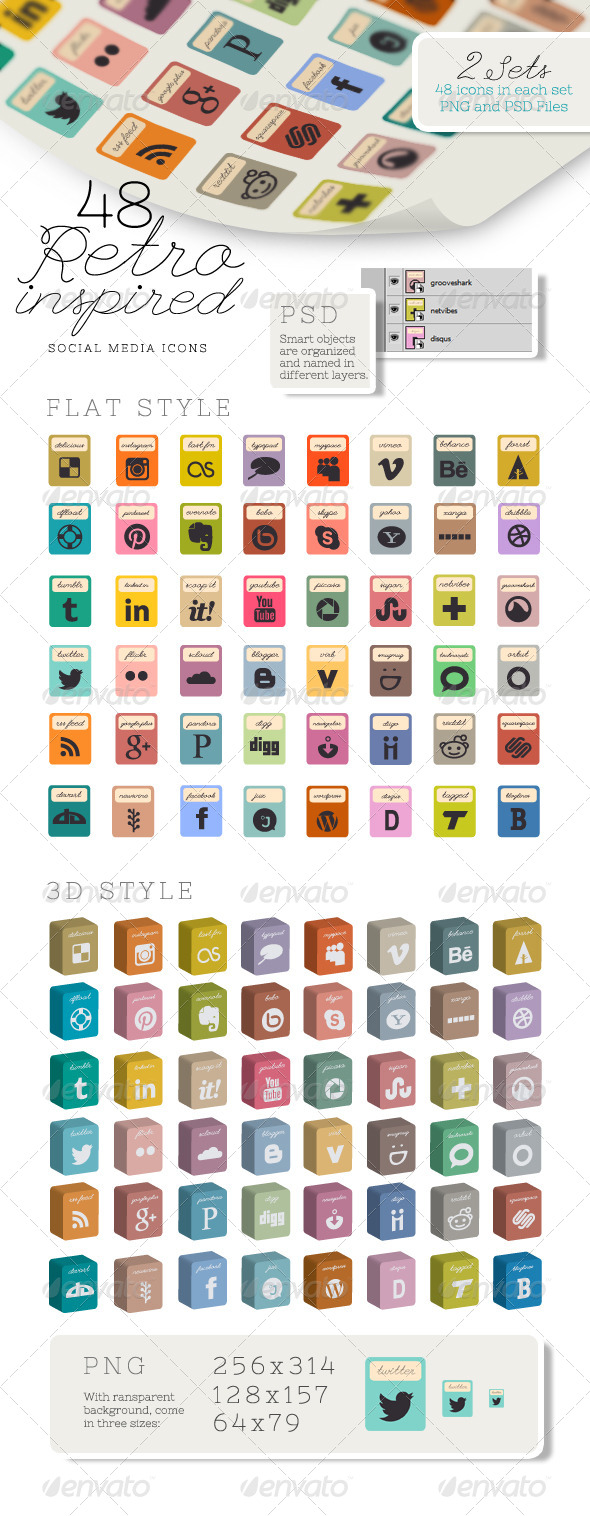 48 Retro Inspired Social Media Icons - Icons
