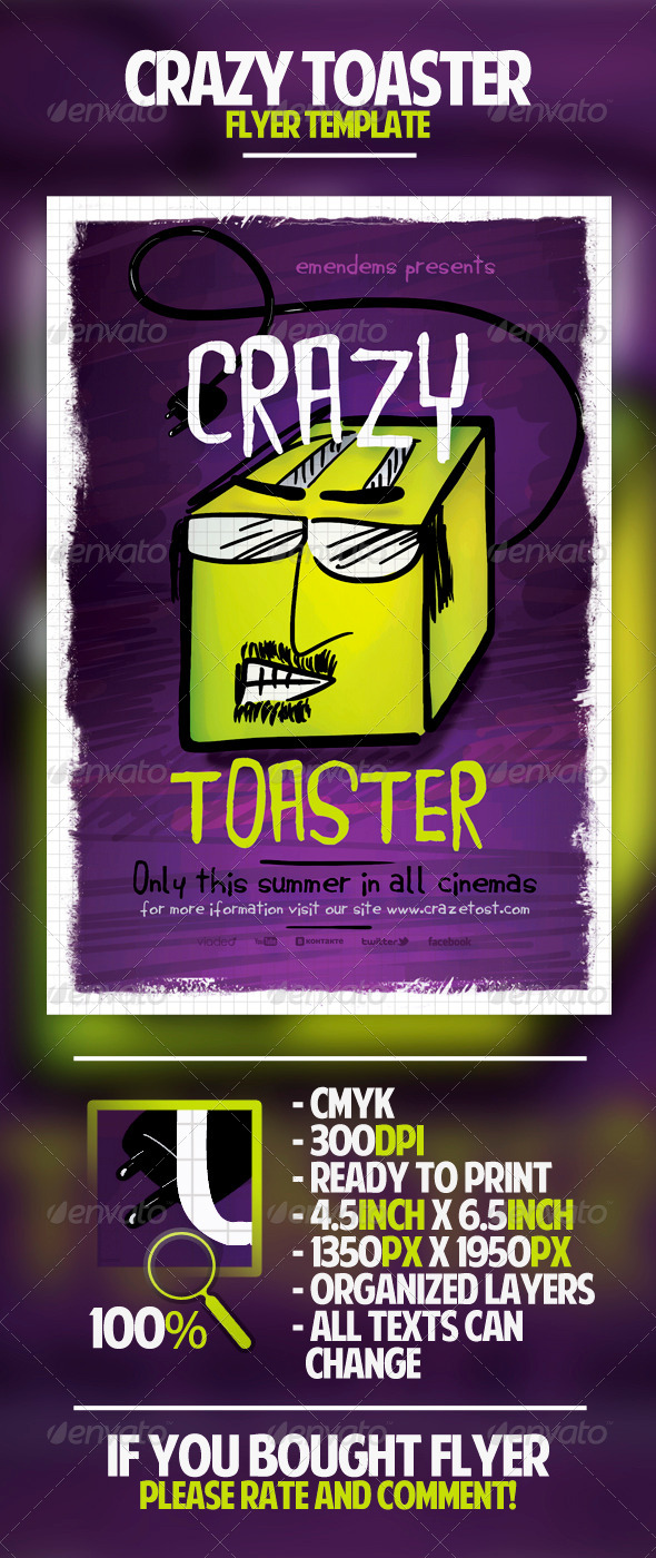 Crazy Toaster Flyer Template - Miscellaneous Events