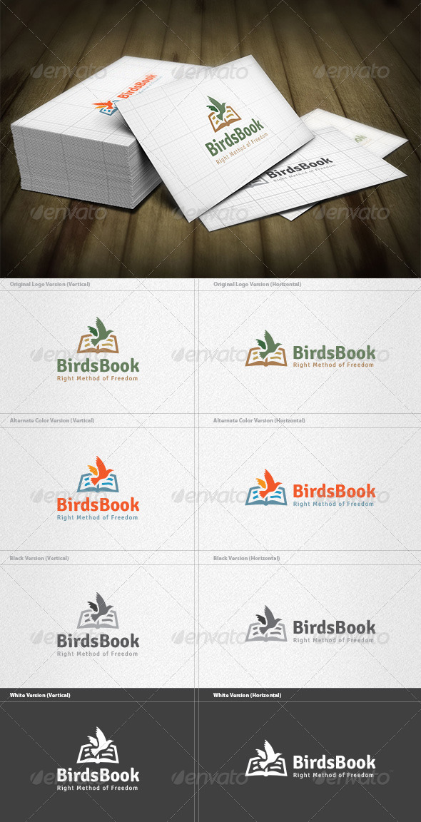 Birds Book Logo - Animals Logo Templates