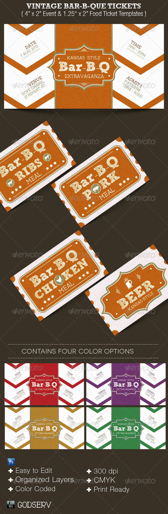 Vintage BarBeQue Ticket Template Set - Miscellaneous Print Templates
