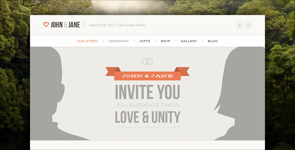 Wedding - Responsive Single Page WordPress Theme