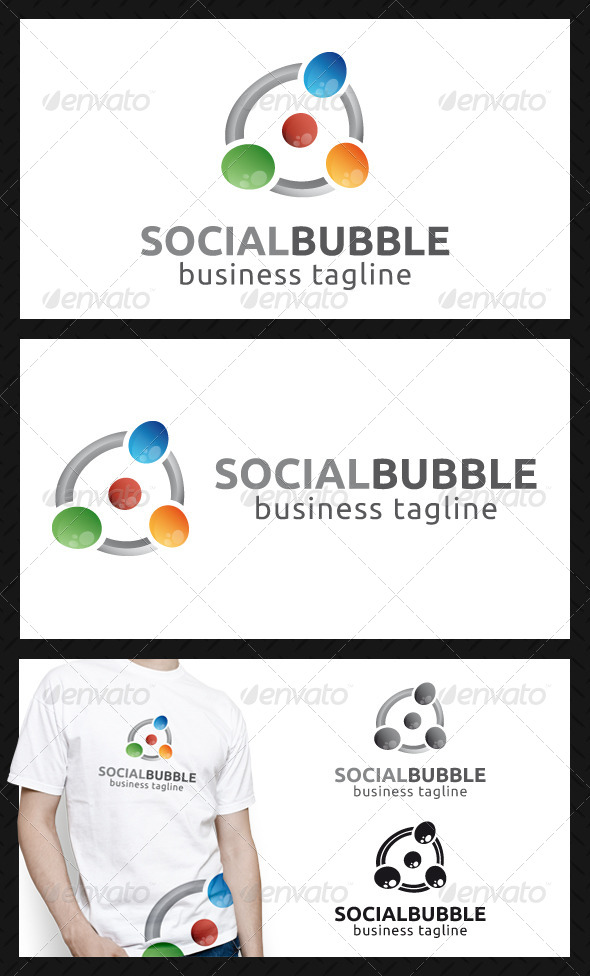 Social Bubbles Logo Template - Vector Abstract