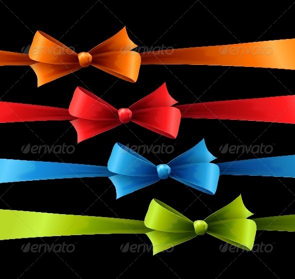 Set of Colored Bow - Seasons/Holidays Conceptual