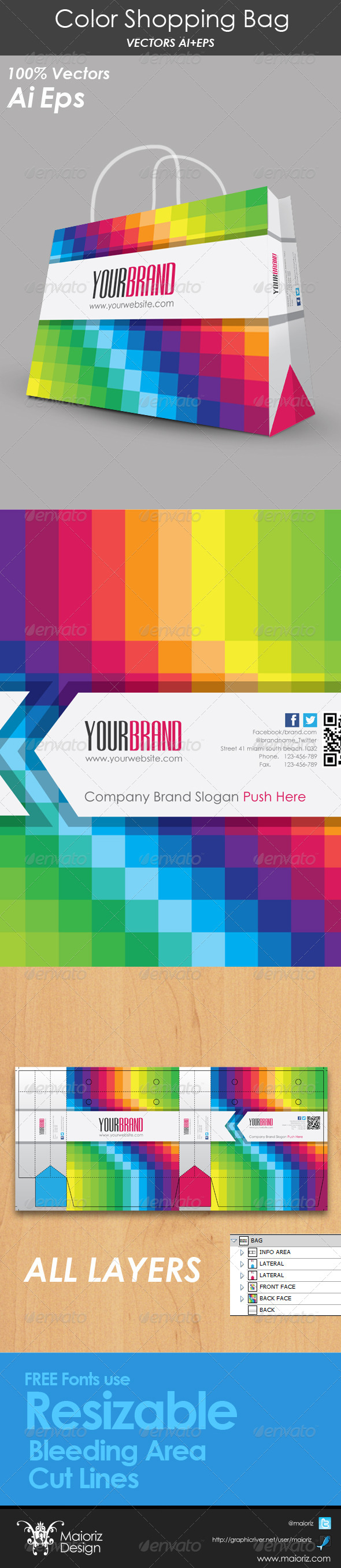 Color Shopping Bag - Packaging Print Templates