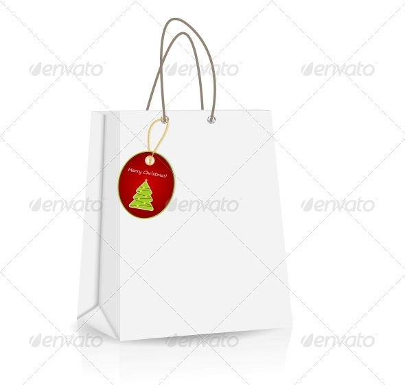 Empty Shopping Bag with Christmas Label - Retail Commercial / Shopping
