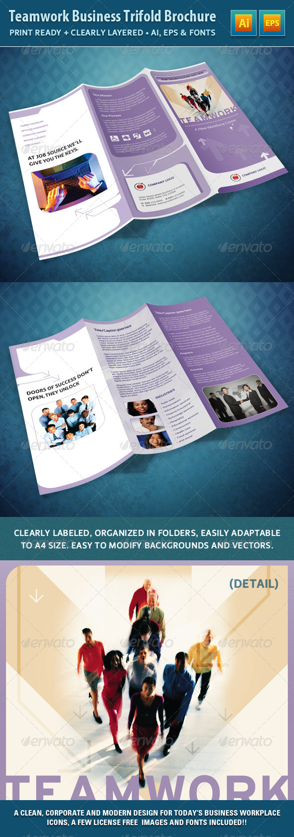 Teamwork Business Trifold Brochure - Catalogs Brochures