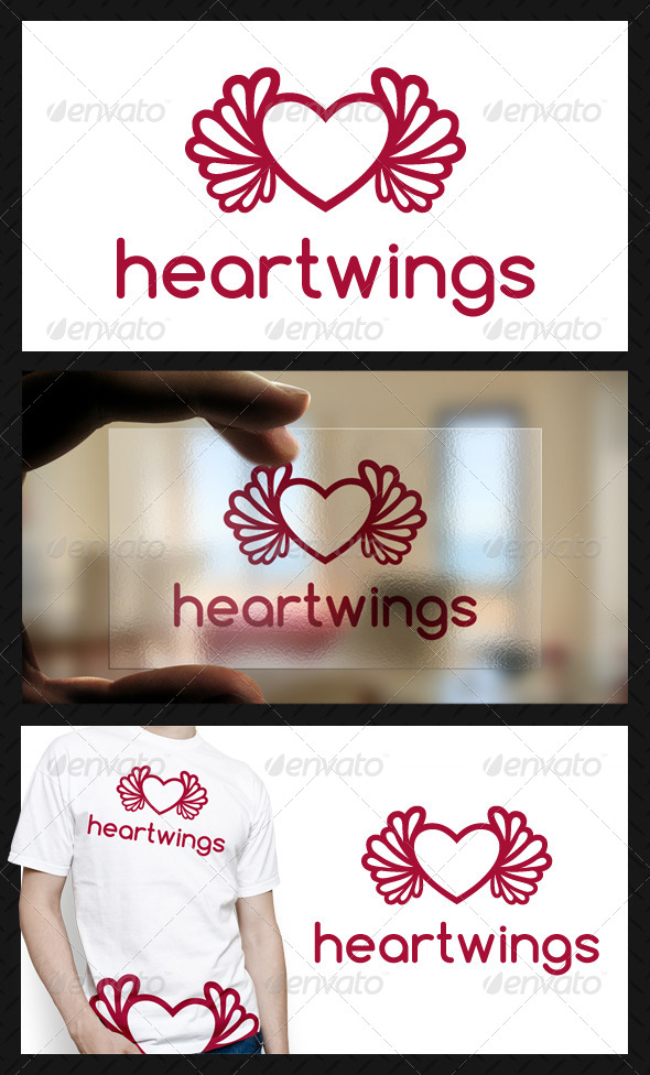 Heart Wings Logo Template - Symbols Logo Templates