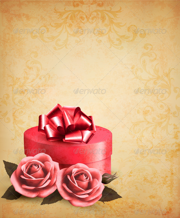 Retro Background with Beautiful Red Roses and Box - Seasons/Holidays Conceptual