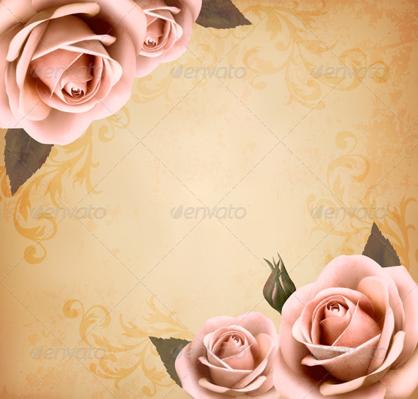 Retro Background with Pink Roses - Flowers & Plants Nature
