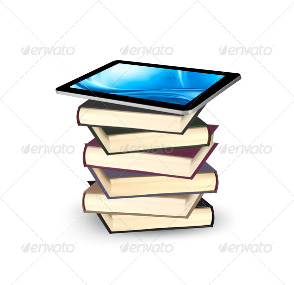 Tablet on a Stock of Books E-Book Capacity Concept - Technology Conceptual