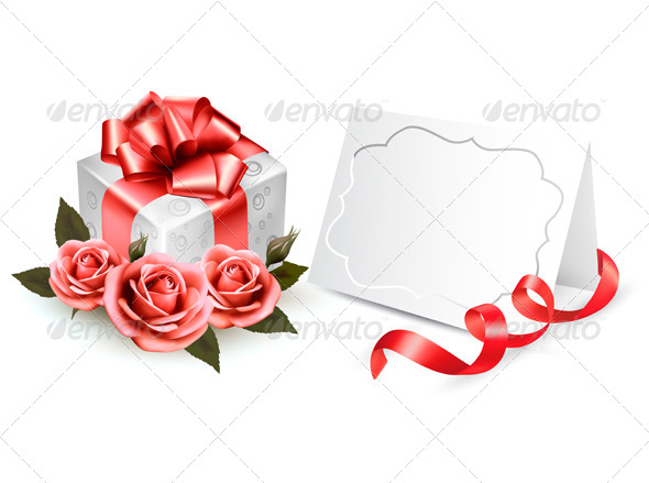 Greeting Card with a Ribbon a Present and Roses - Seasons/Holidays Conceptual