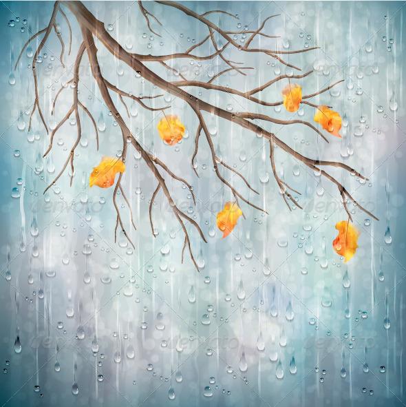 Vector Autumn Rain Background Tree Branch - Seasons Nature