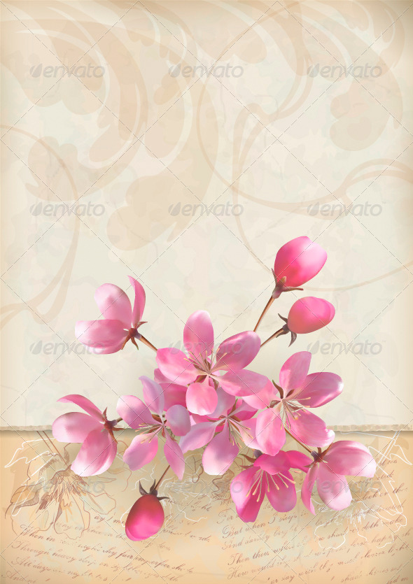 Realistic Vector Cherry Blossom Flower Arrangement - Backgrounds Decorative