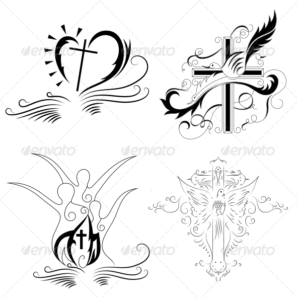Christian Cross Religious Vector Designs Pack - Religion Conceptual