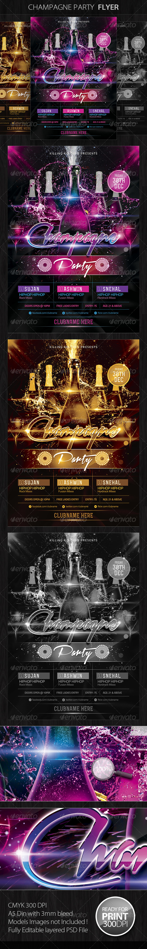 Champagne Party Flyer - Clubs & Parties Events