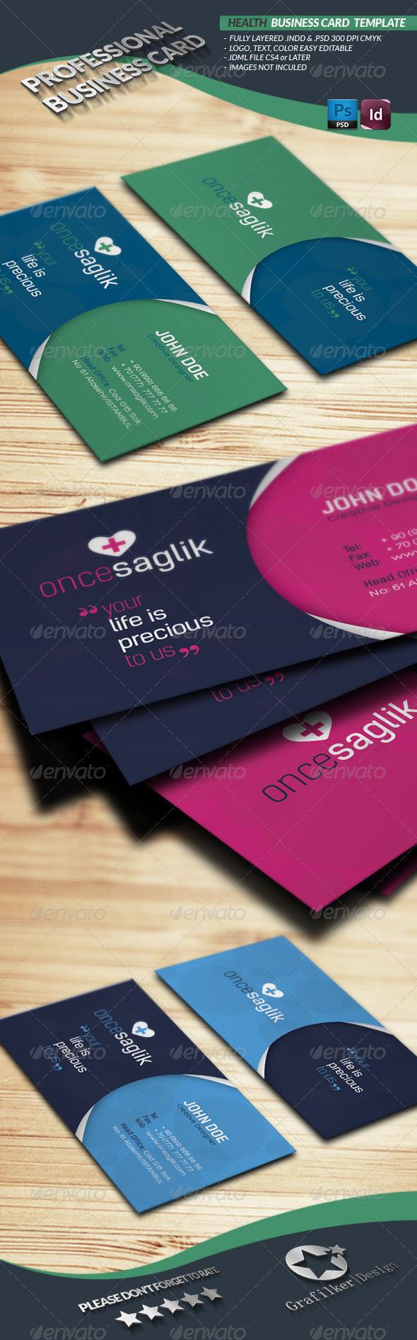 Health Business Card Template - Business Cards Print Templates