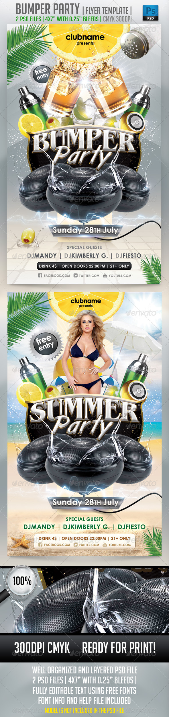 Bumper Party Flyer Template - Clubs & Parties Events