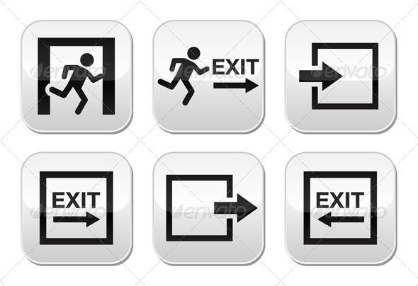 Emergency Exit Vector Buttons Set - Miscellaneous Vectors