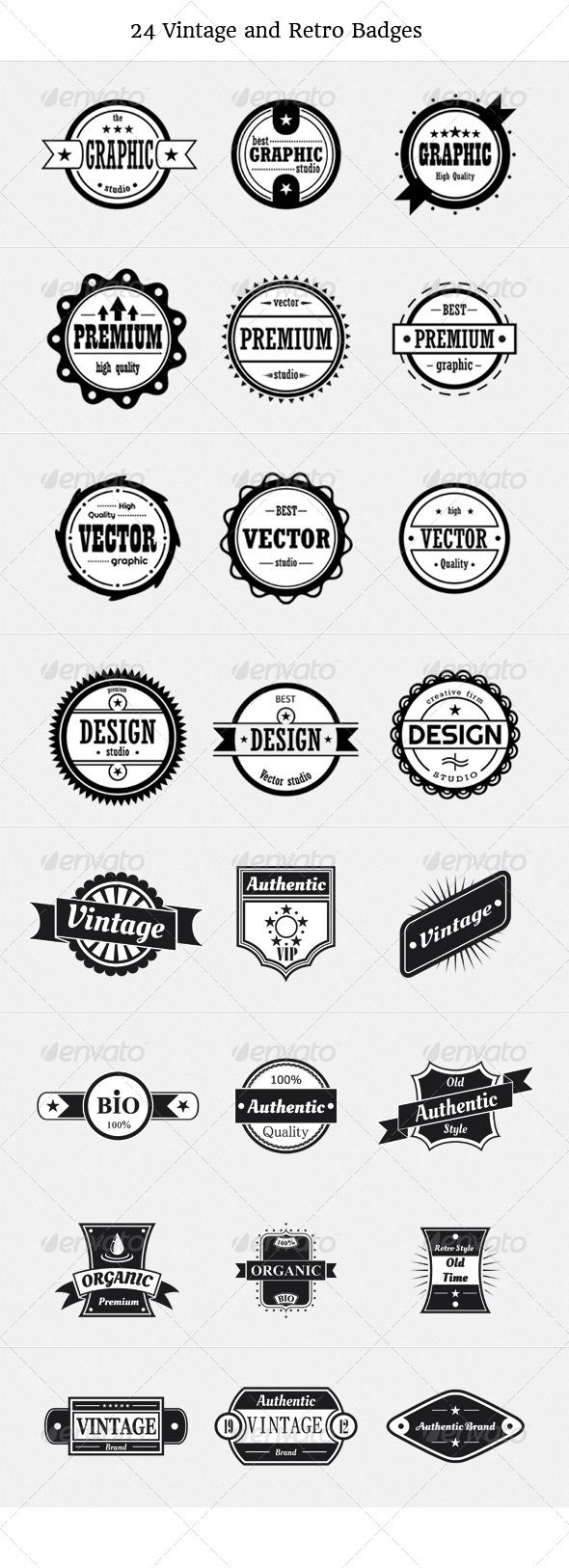 24 Vintage and Retro Badges - Retro Technology