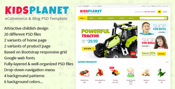 Kids Planet – eCommerce & Blog PSD Template
