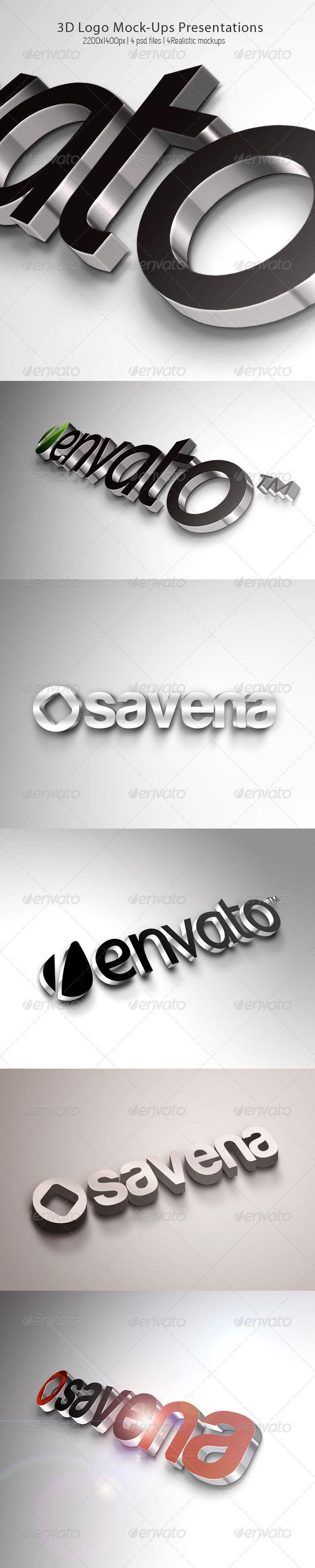 3D Logo Mock-Ups Presentations - Logo Product Mock-Ups