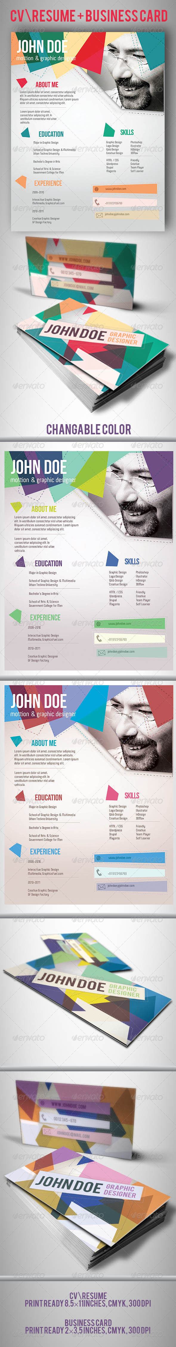 CV/Resume and Business Card Template - Stationery Print Templates