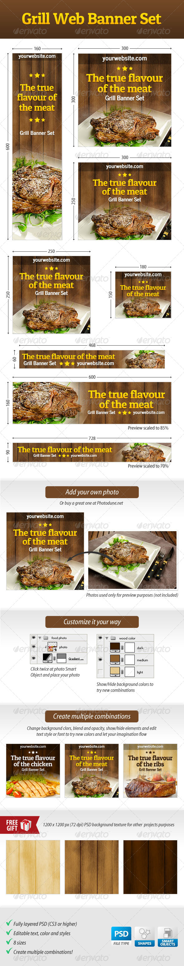 Grill Web Banner Set - Banners & Ads Web Elements